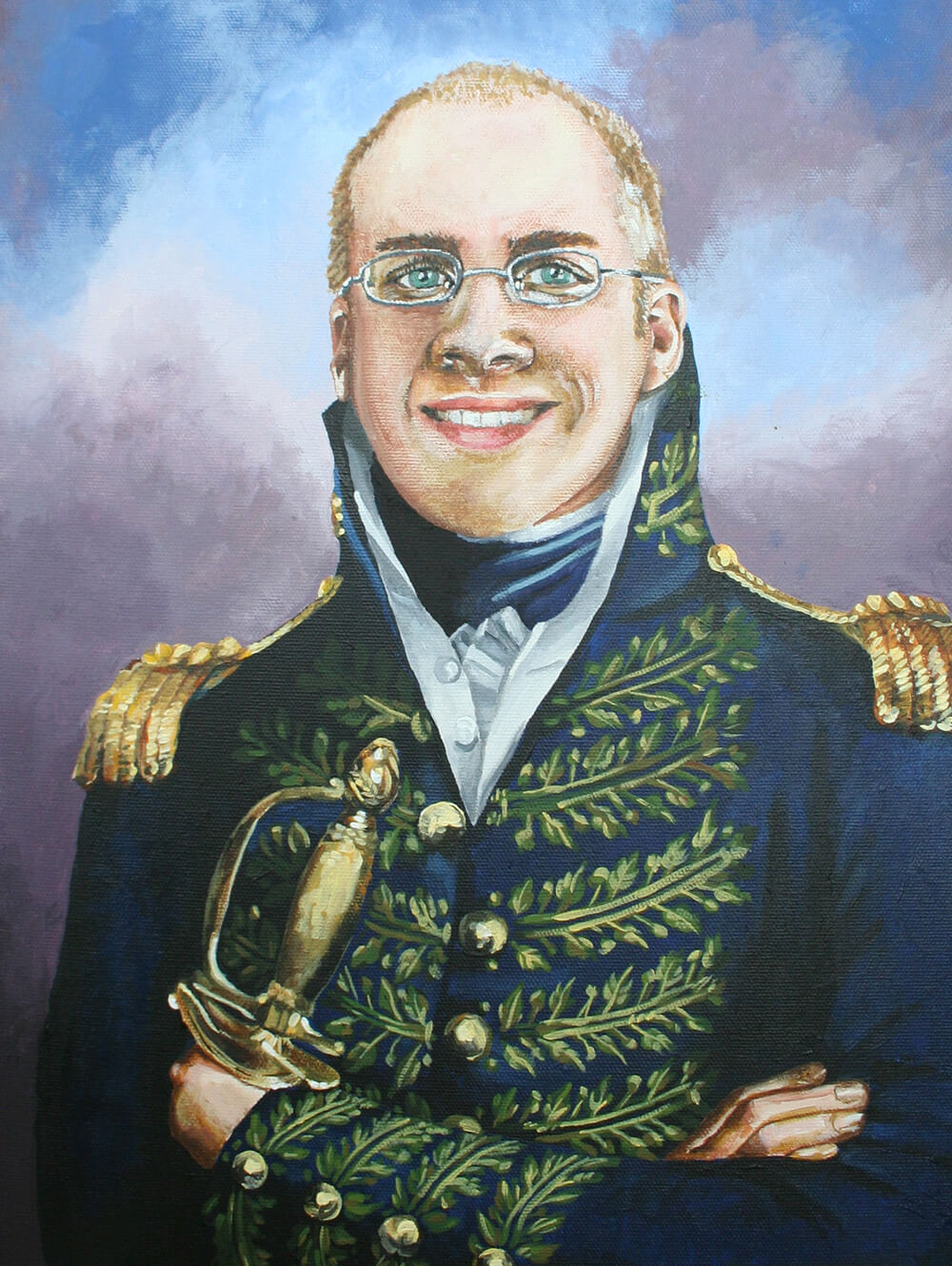 a painting of my friend Ben Heise's head on a war general's body