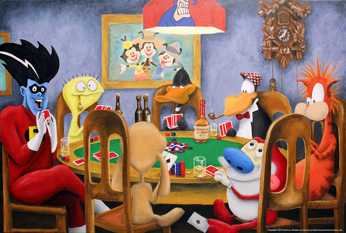 a painting parody of Dogs Playing Poker with cartoon characters like Daffy Duck, the Flash, and Ren and Stimpy