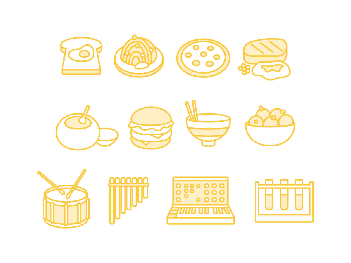 icons in light yellow of various food, technology, and musical items