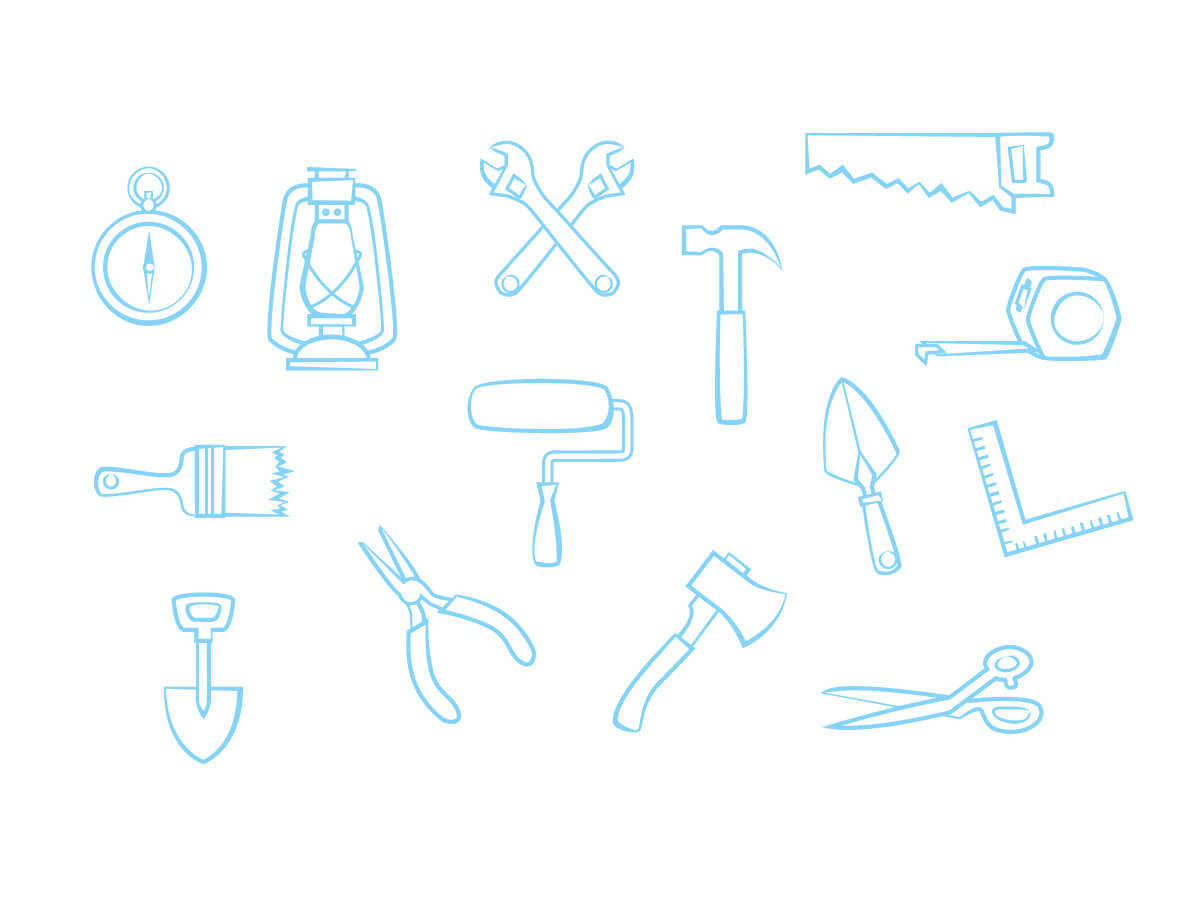 icons in light blue of construction and building tools