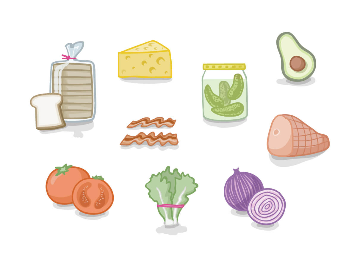 icons in a colorful illustrative style of sandwich components like bread, cheese, and veggies