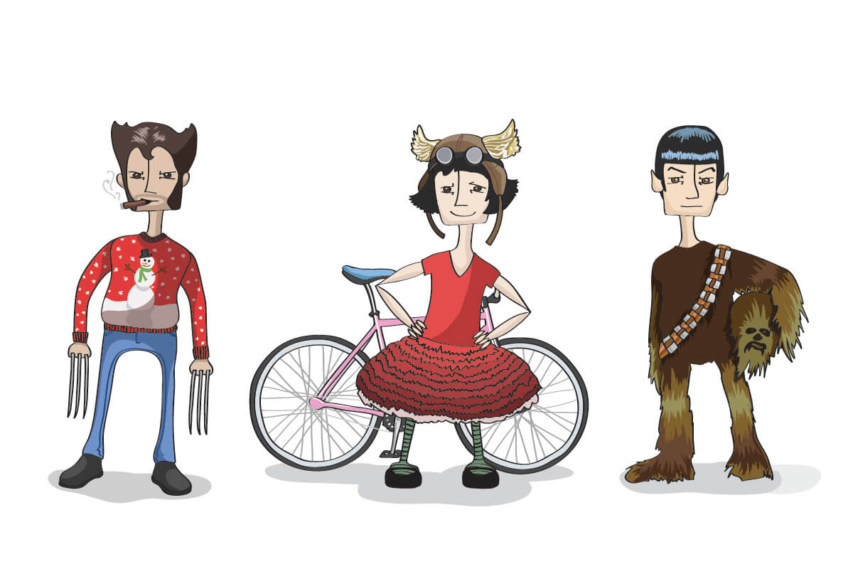 illustrations of Wolverine in an ugly Christmas sweater, Amelie at Tour de Fat in front of a bicycle, and Spock in a Chewbacca costume