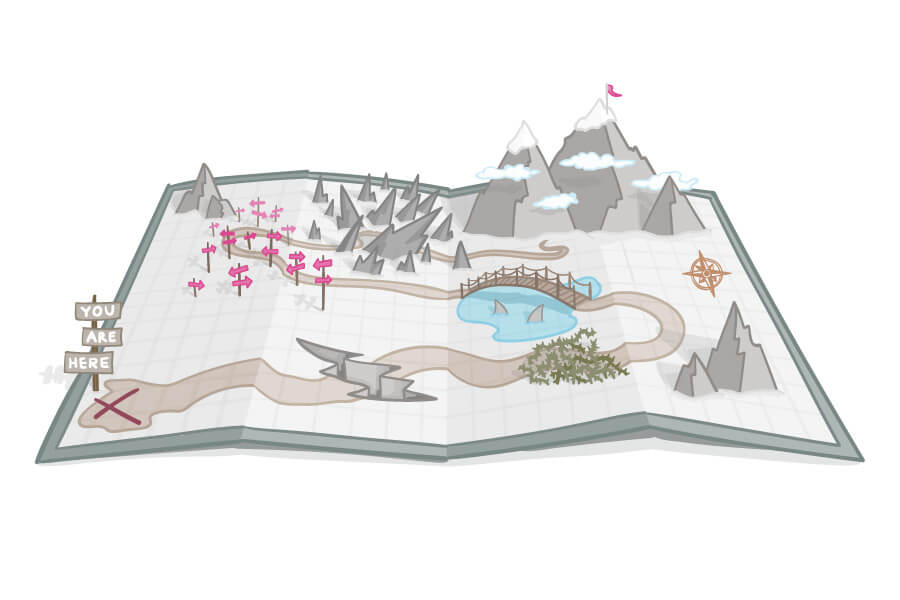 an illustrated pop-up style treasure map with treacherous and obstacles on the way to a mountain peak
