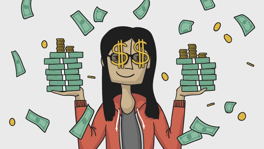 an illustrated of Lynn Fisher wearing novelty dollar sign glasses, holding stacks of cash and money falls from the sky