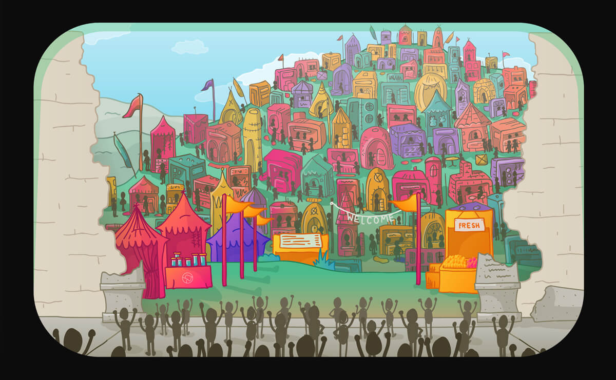 an illustration of a broken wall, outside is a colorful and exciting marketplace