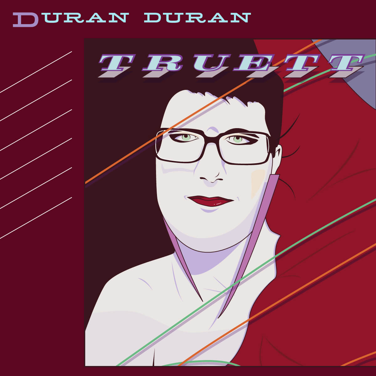 an illustration of my friend Truett in the style of Duran Duran's Rio album cover