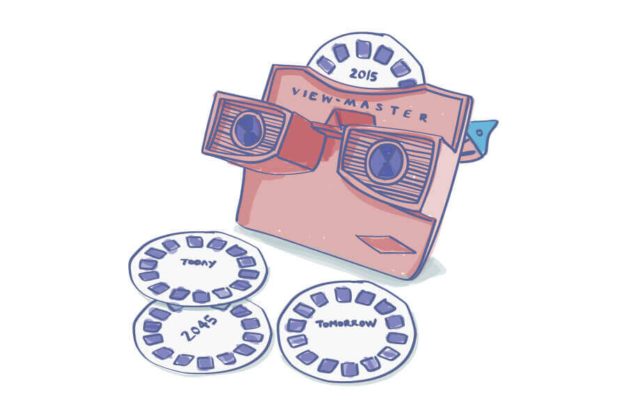 "an illustration of a vintage viewmaster and slide cartridges that are labeled ""Today, Tomorrow, and 2045"""