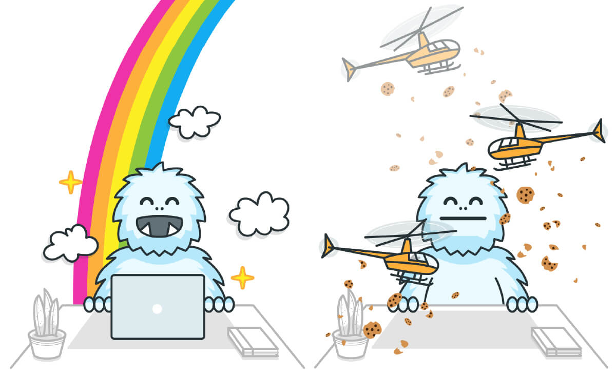 illustrations of a yeti at a desk with various backgrounds including a rainbow, flying money, helicopters dropping broken cookies, and flying newsletters
