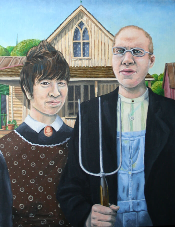 a painting of my friends Naomi and Ben as the two people in American Gothic