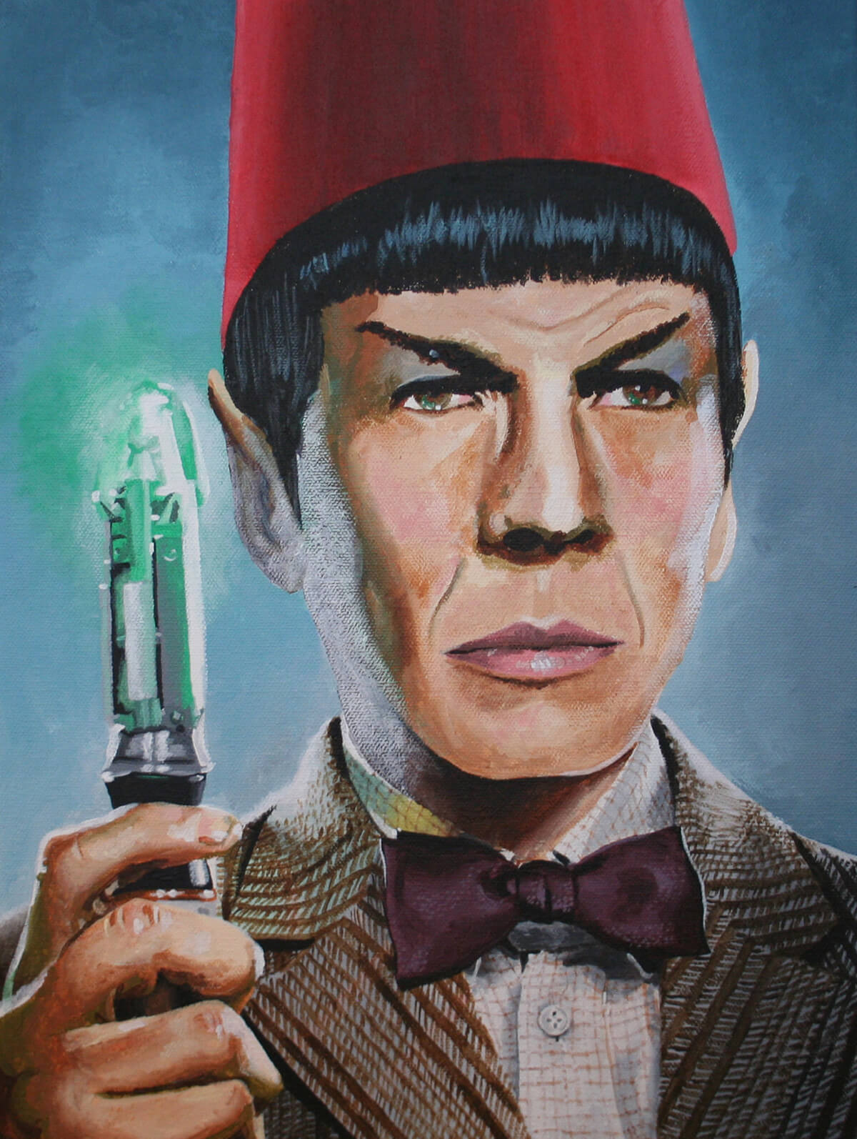 a painting of Spock wearing a Doctor Who fez and holding a Sonic Screwdriver