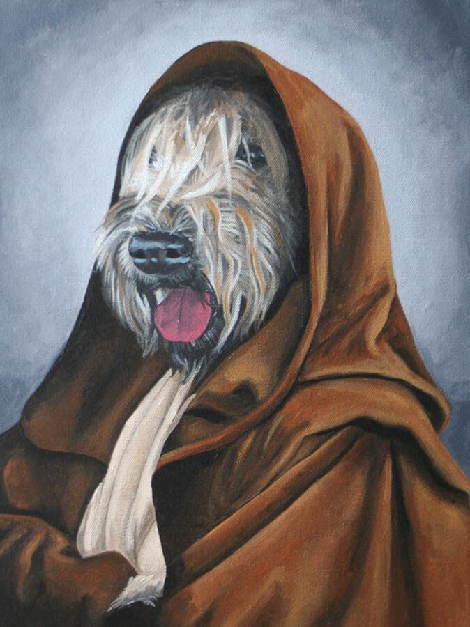 a painting of a wheaton terrier, Goose, wearing Jedi robes