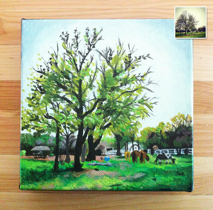 a tiny painting of a large tree on a ranch with horses, a recreation of an Instagram photo