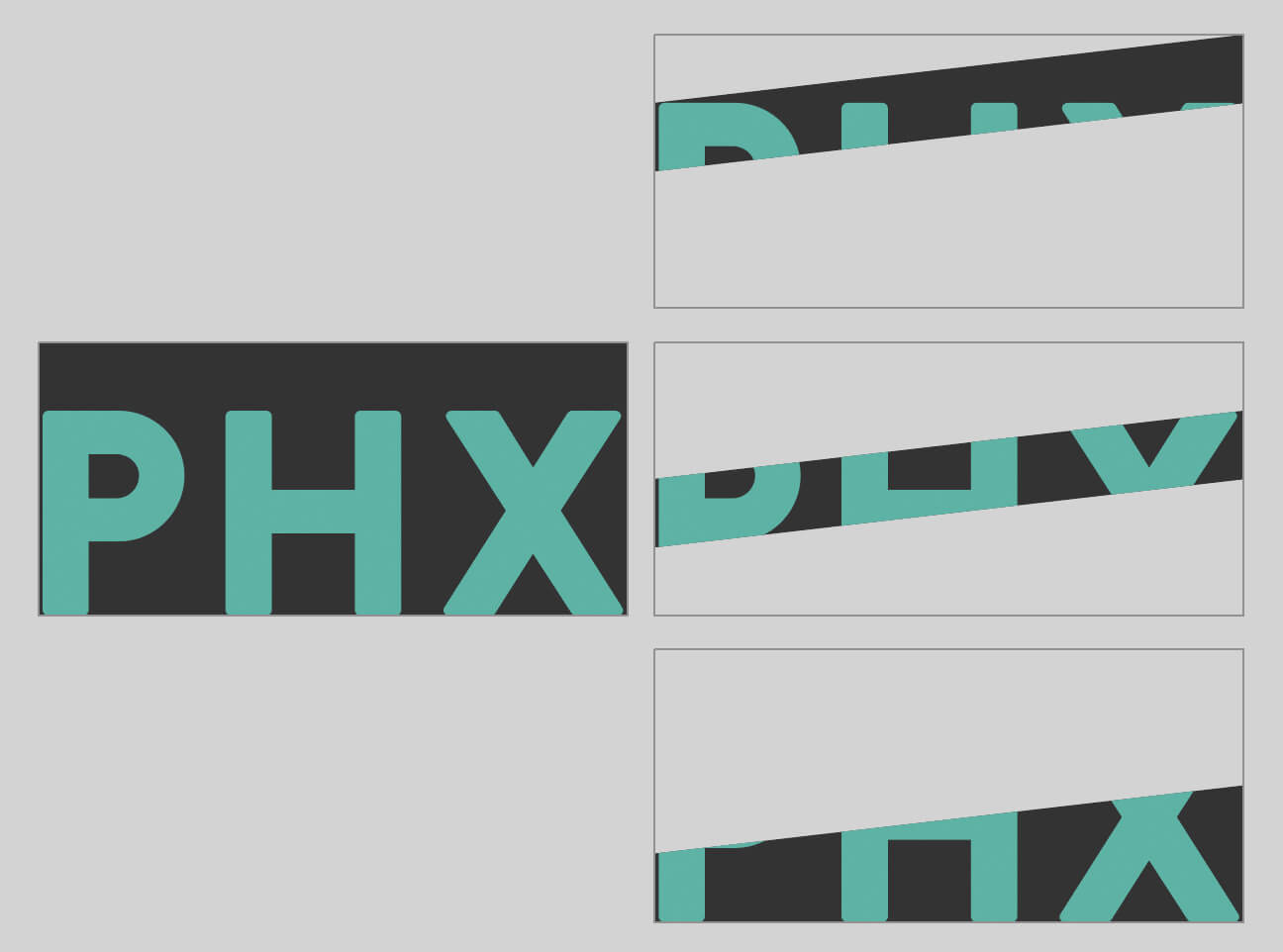PHX lettering and the same image masked with three different angled shapes