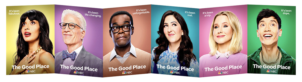six The Good Place portraits chained together to look like a long folded piece