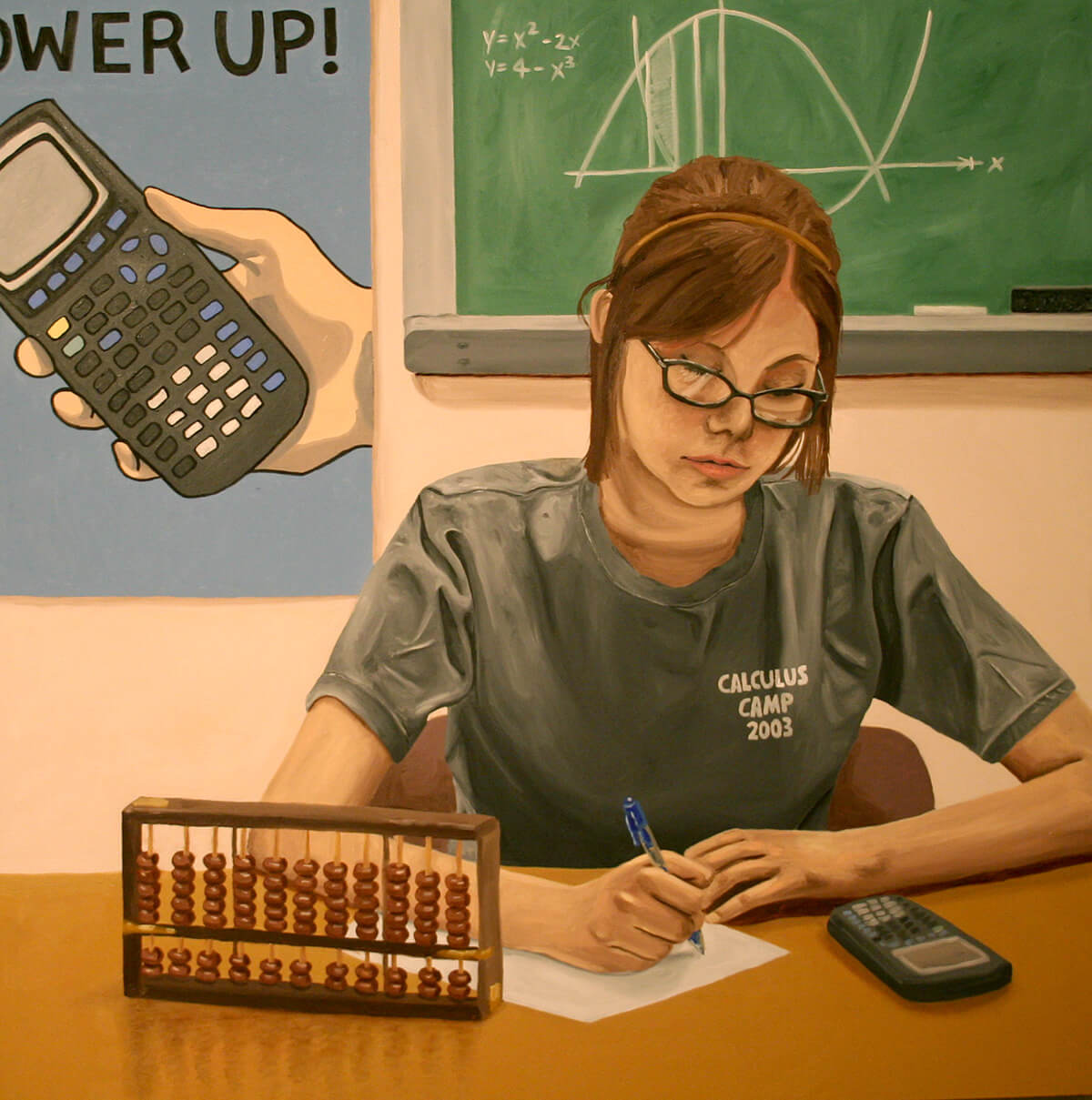 a painting of my friend Tiffany wearing a Calculus Camp shirt and doing some math homework with an abacus