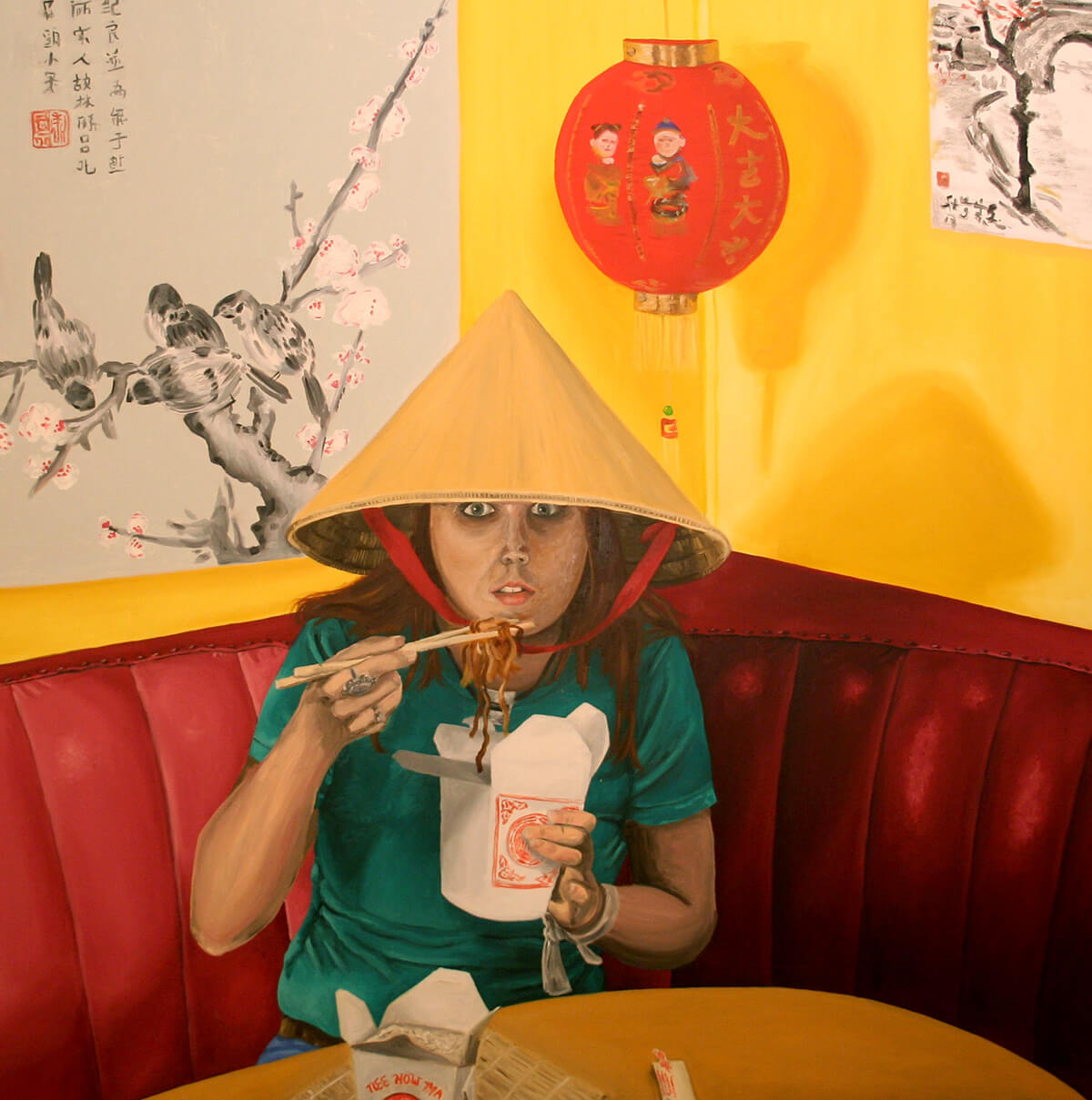 a painting of my friend Kirsten wearing a Chinese bamboo hat and eating takeout noodles