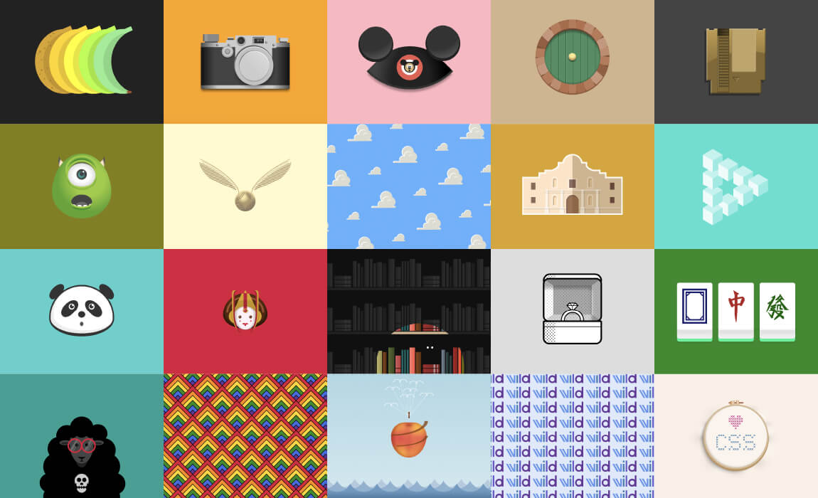 a grid of illustrations including Mike Wazowski, a caseete tape, Nibbler, BB-8, and a Disneyland Mickey ears hat