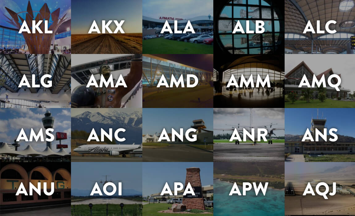 a screenshot of the Airport Codes website, featuring a grid of airports each identified by a photo and its three-letter IATA code