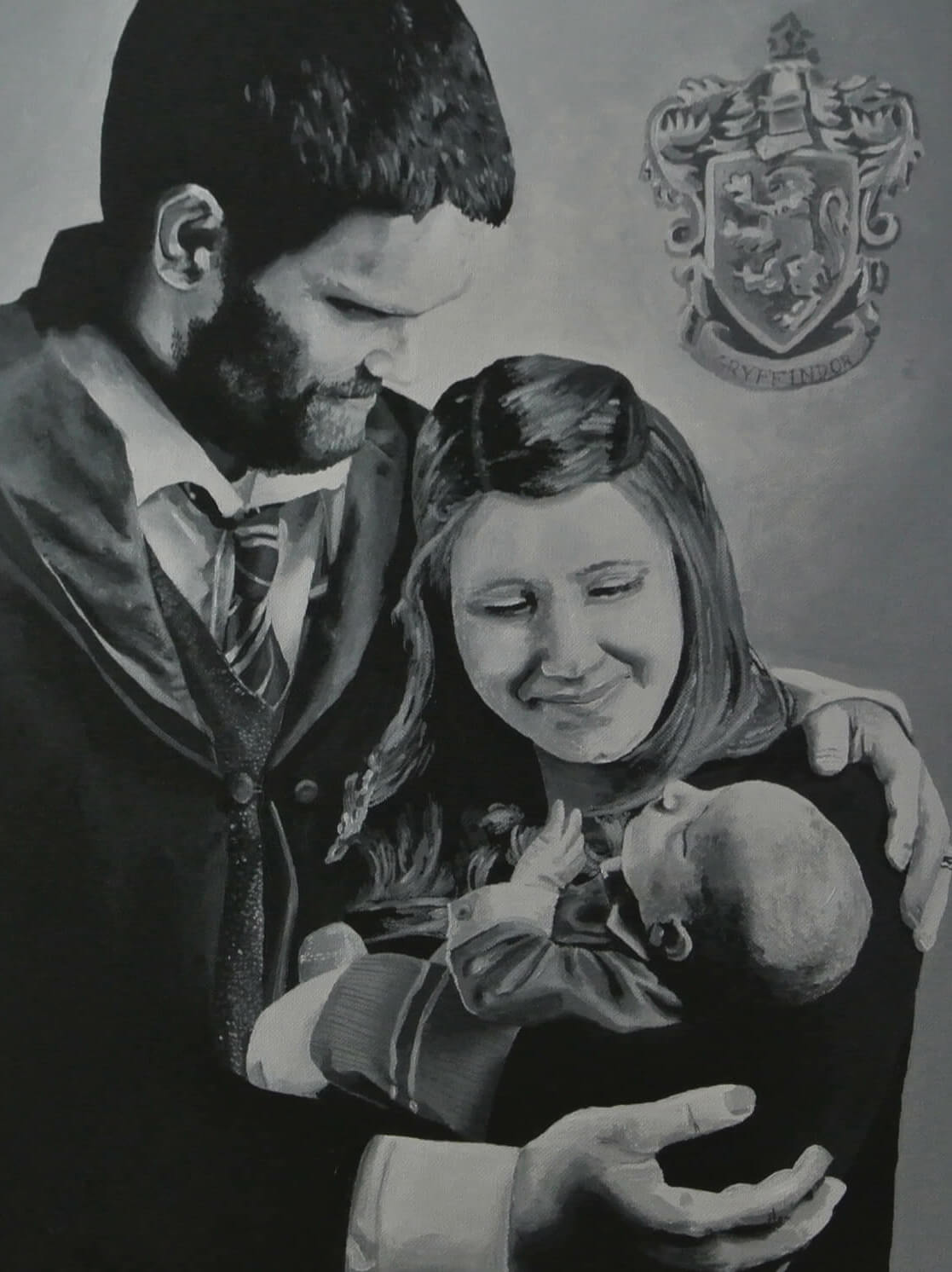 a painting of my friend Adam, his wife, and newborn child wearing Harry Potter robes and a Gryffindor crest