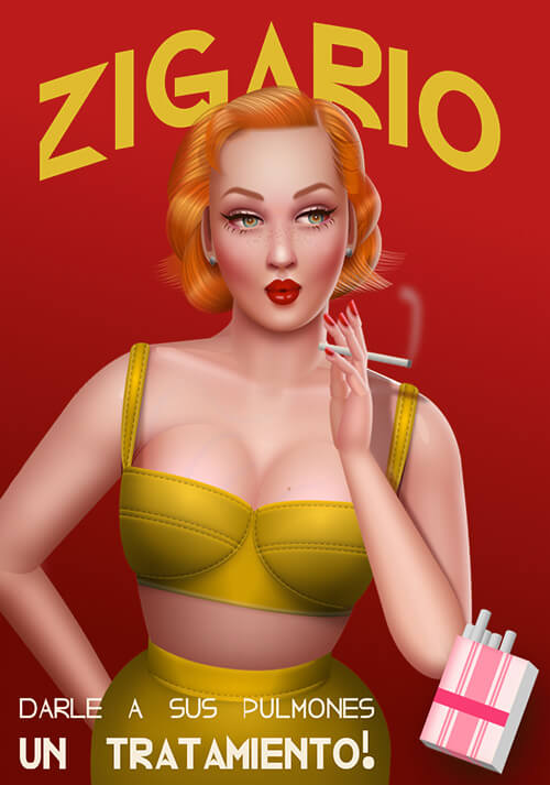a vintage cigarette ad with a red-haired woman in a green outfit
