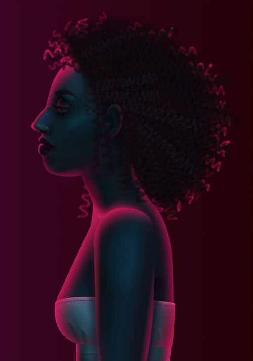 a dark profile portrait of a woman with curly hair, magenta light reflecting off her hair and face