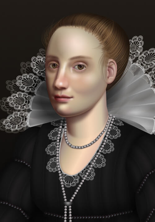 portrait of a woman with an elaborate lace collar in the style of a Flemish baroque oil portrait