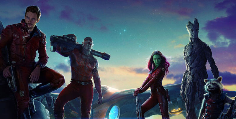 Starlord, Drax, Gamora, Groot, and Rocket